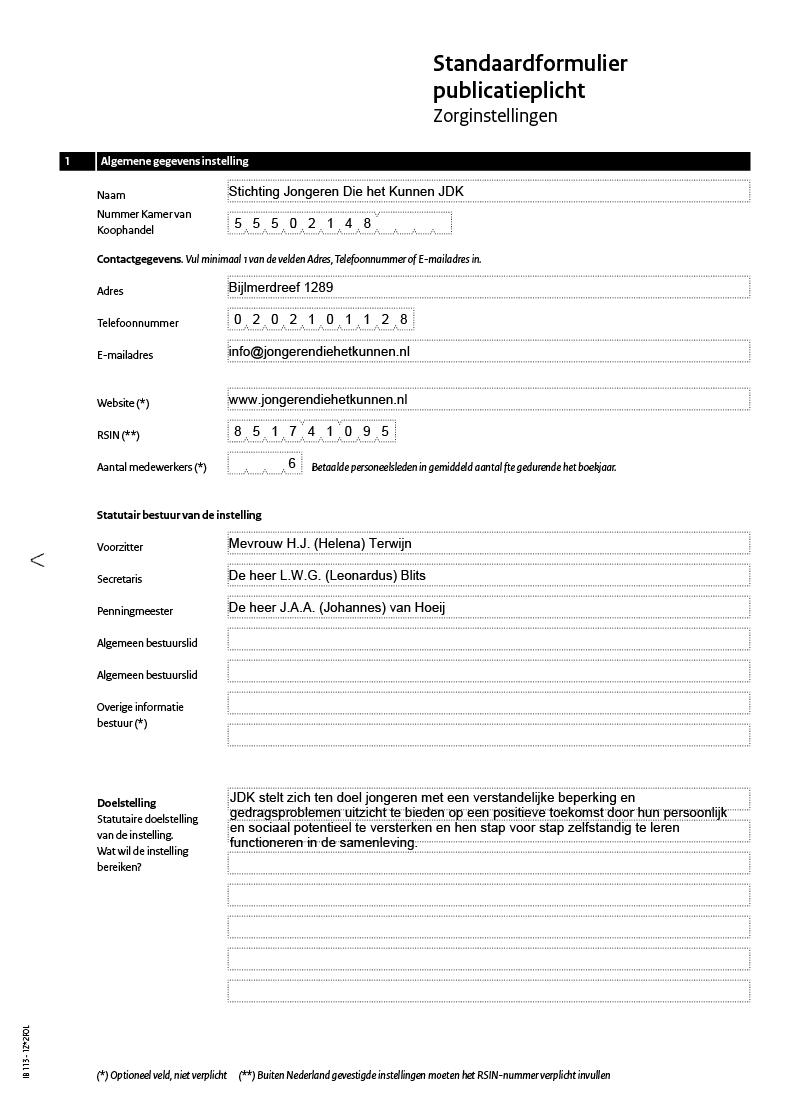 standaardformulier publicatieplicht